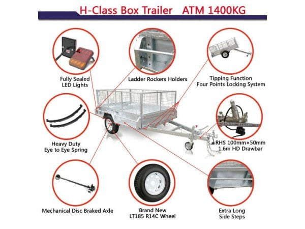 8x5 ft heavy duty box trailer