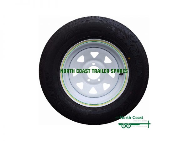 14 x 6 inch Tyre and White Trim Wheel